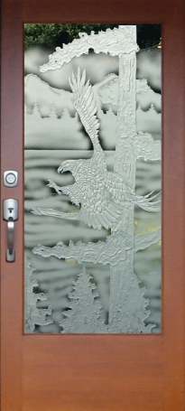 eagle landing door carved sandblasted rz