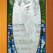 Heron Carved and Stained Glass