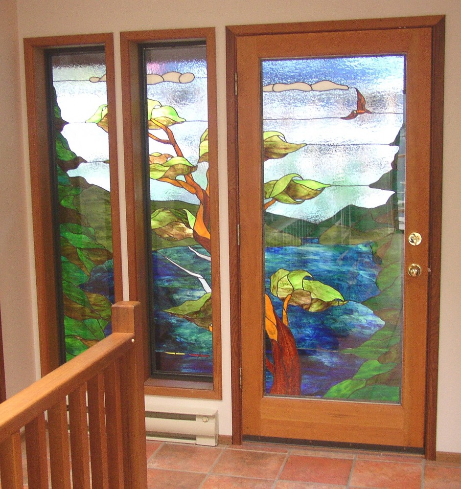 Relkie Art Glass Stained Sandblasted Carved
