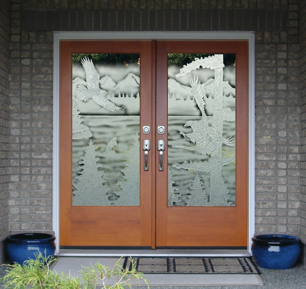 Eagle Carved Sandblasted Double Doors Rz .. & Sandblasted Doors u0026 Sand Blasted Glass | Sandblasted Floral On ... pezcame.com