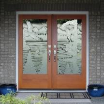 eagle carved sandblasted double doors rz