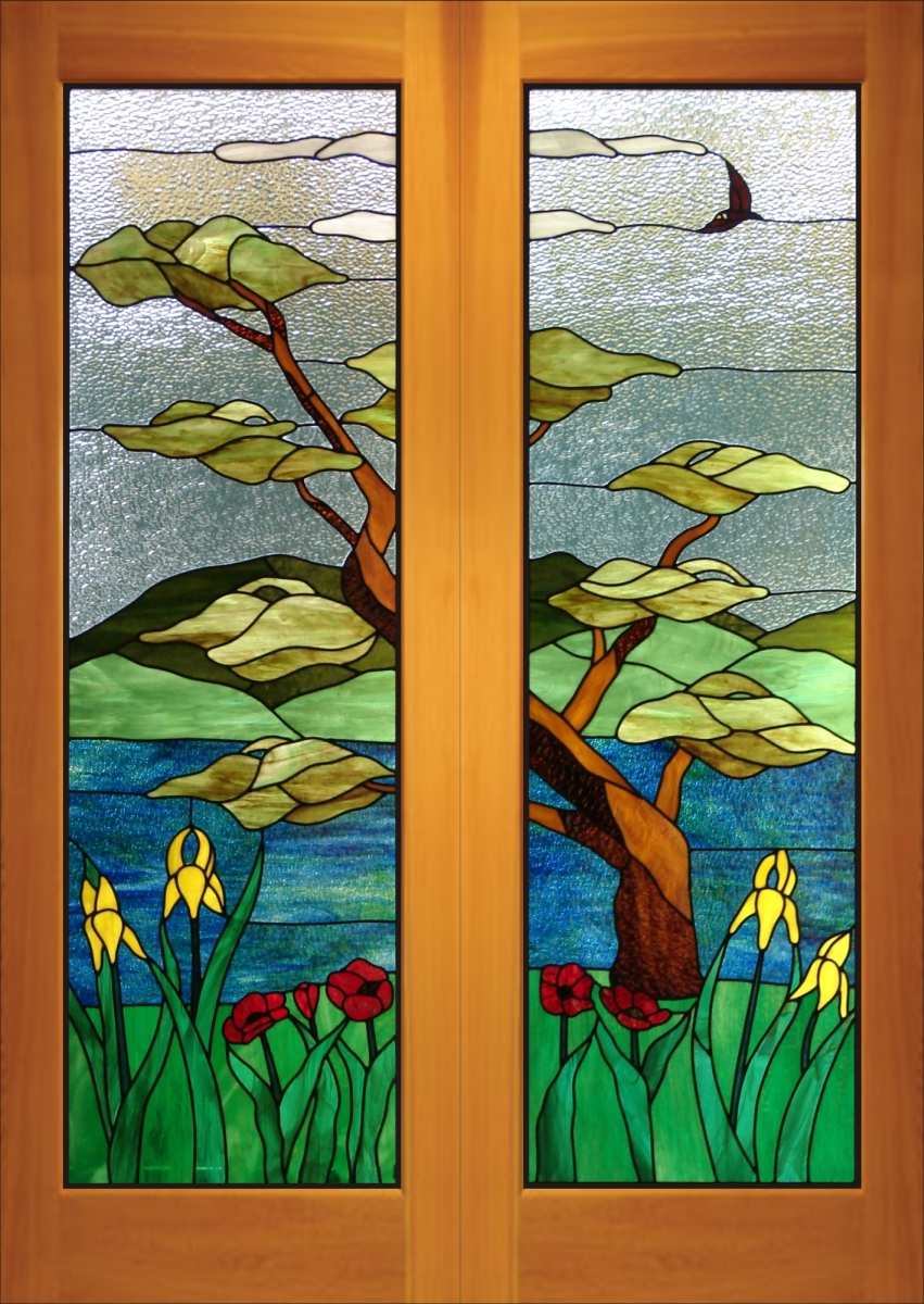 Stained carved sandblasted glass windows doors for Art glass windows and doors