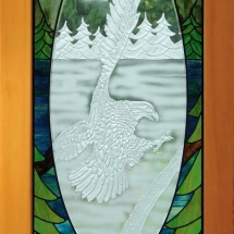 Eagle Carved and Stained Glass Door