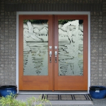 eagle carved sandblasted double doors rz